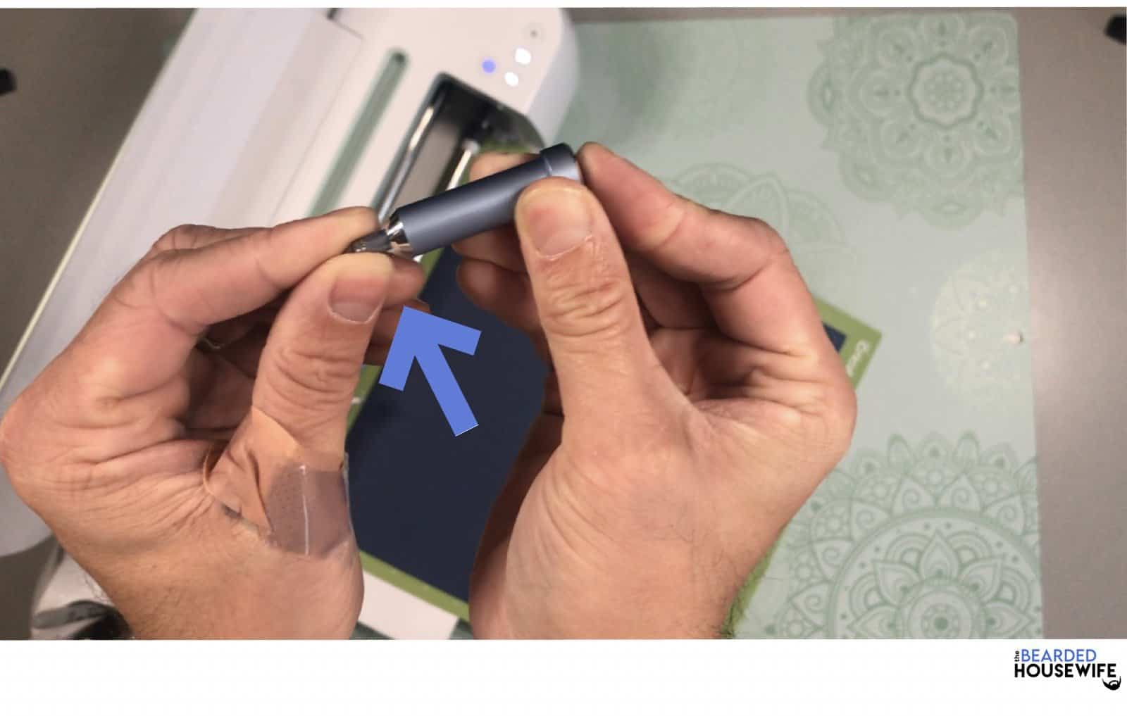 insert tip into the foil transfer tool
