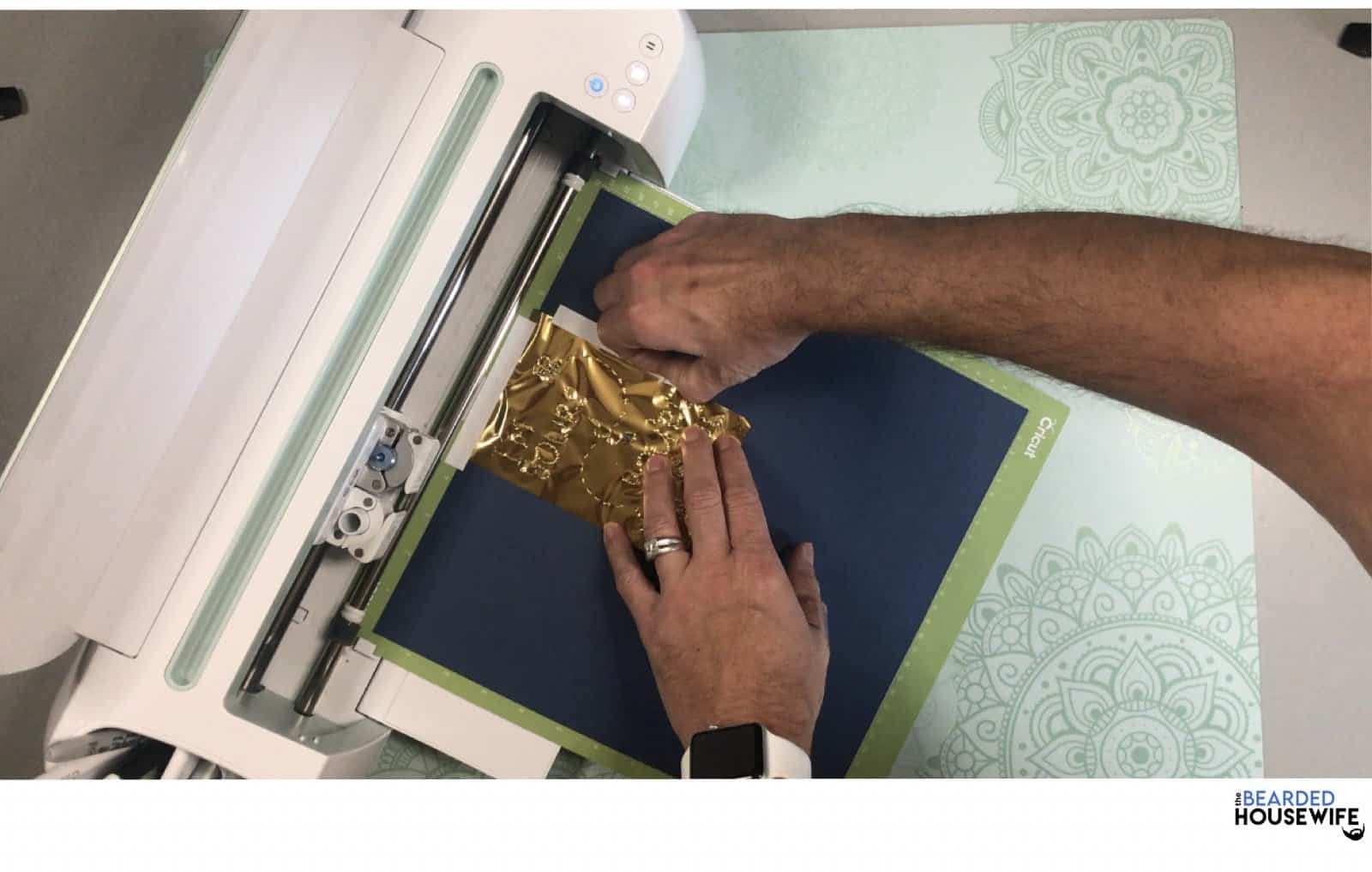 once foiling has completed, carefully remove the tape