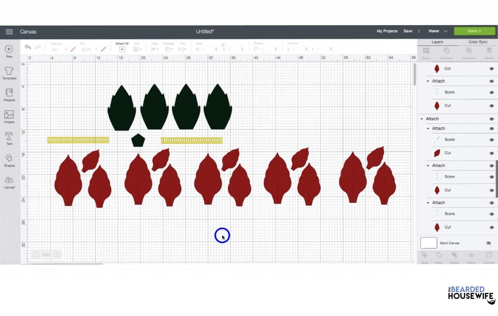 you should now have five sets of poinsettia petals