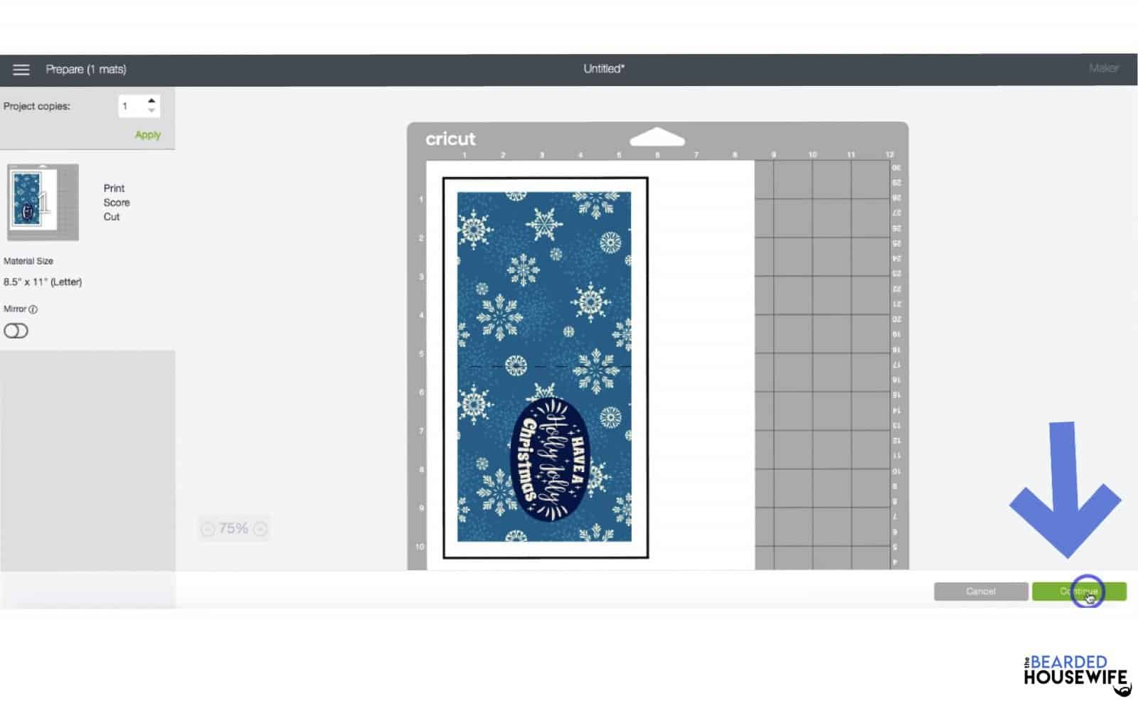 you can see this card is a print then cut image from the black box in the mat preview. click continue