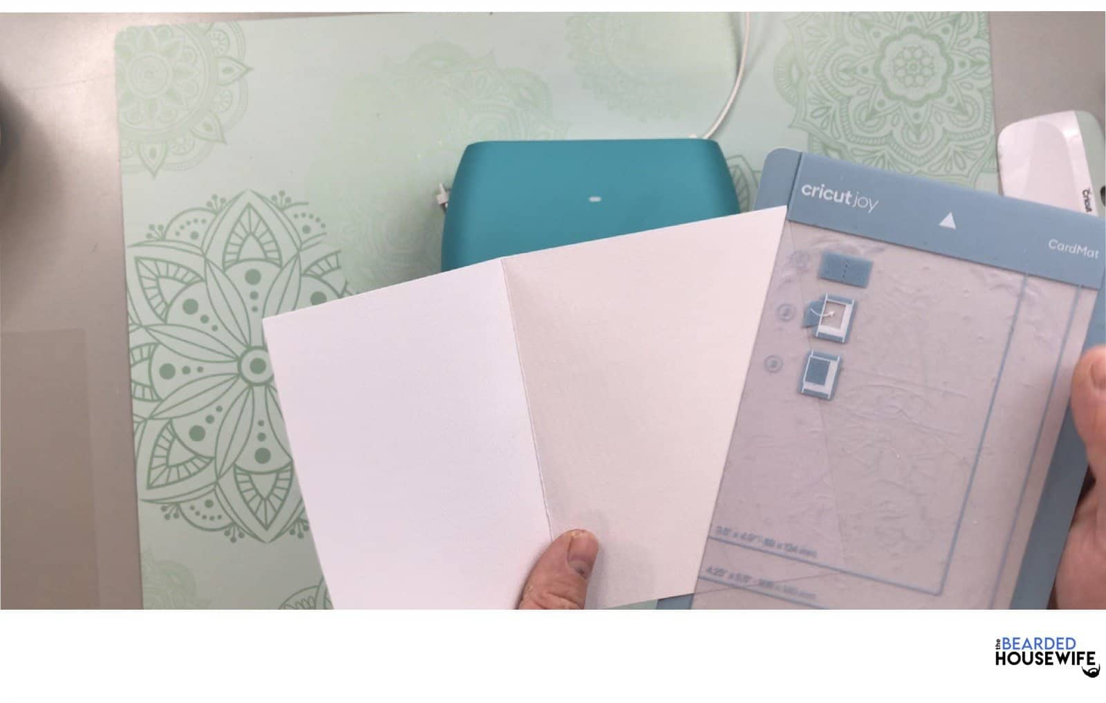 to add your card to the mat, slip the card into the card mat and press the outside onto the mat