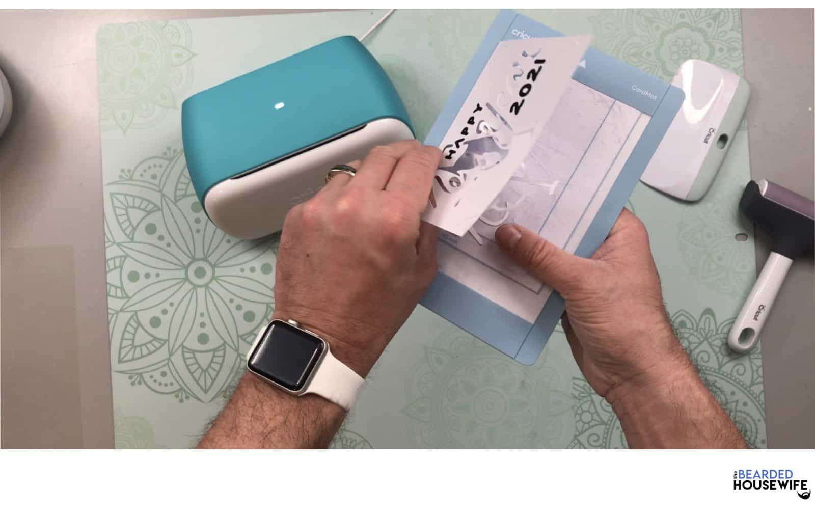 once complete, carefully peel the card away from the mat