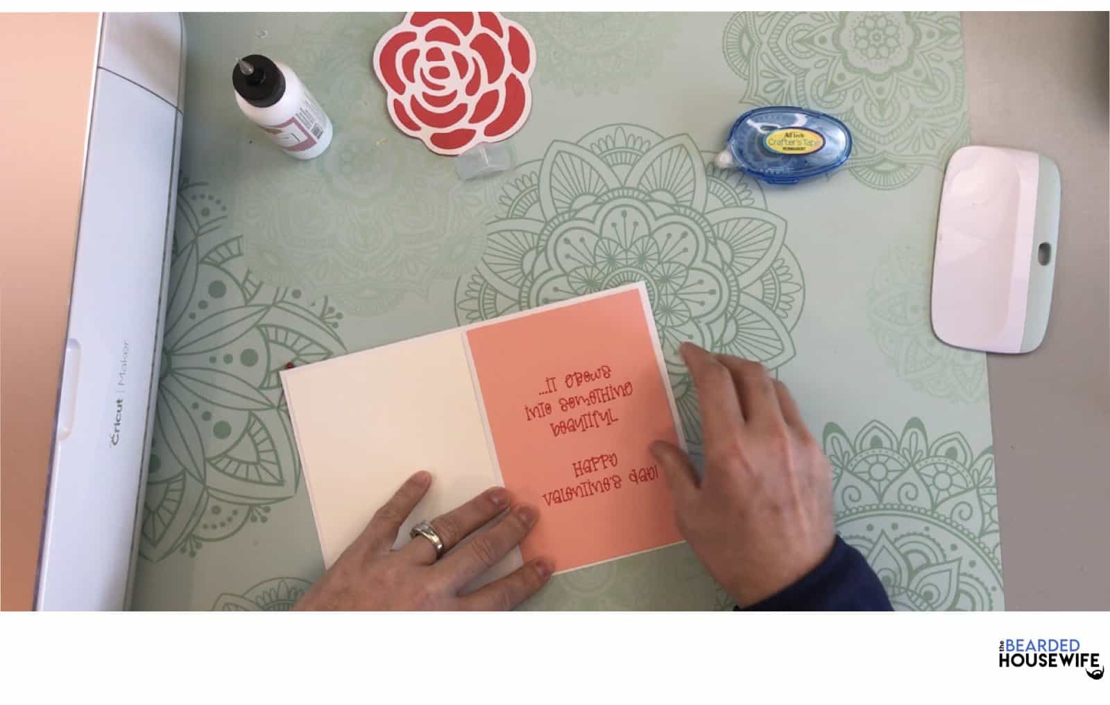 add to the inside of the card, centering the image