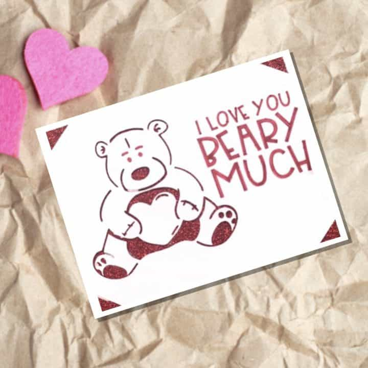 Beary Much Valentines Insert Cards