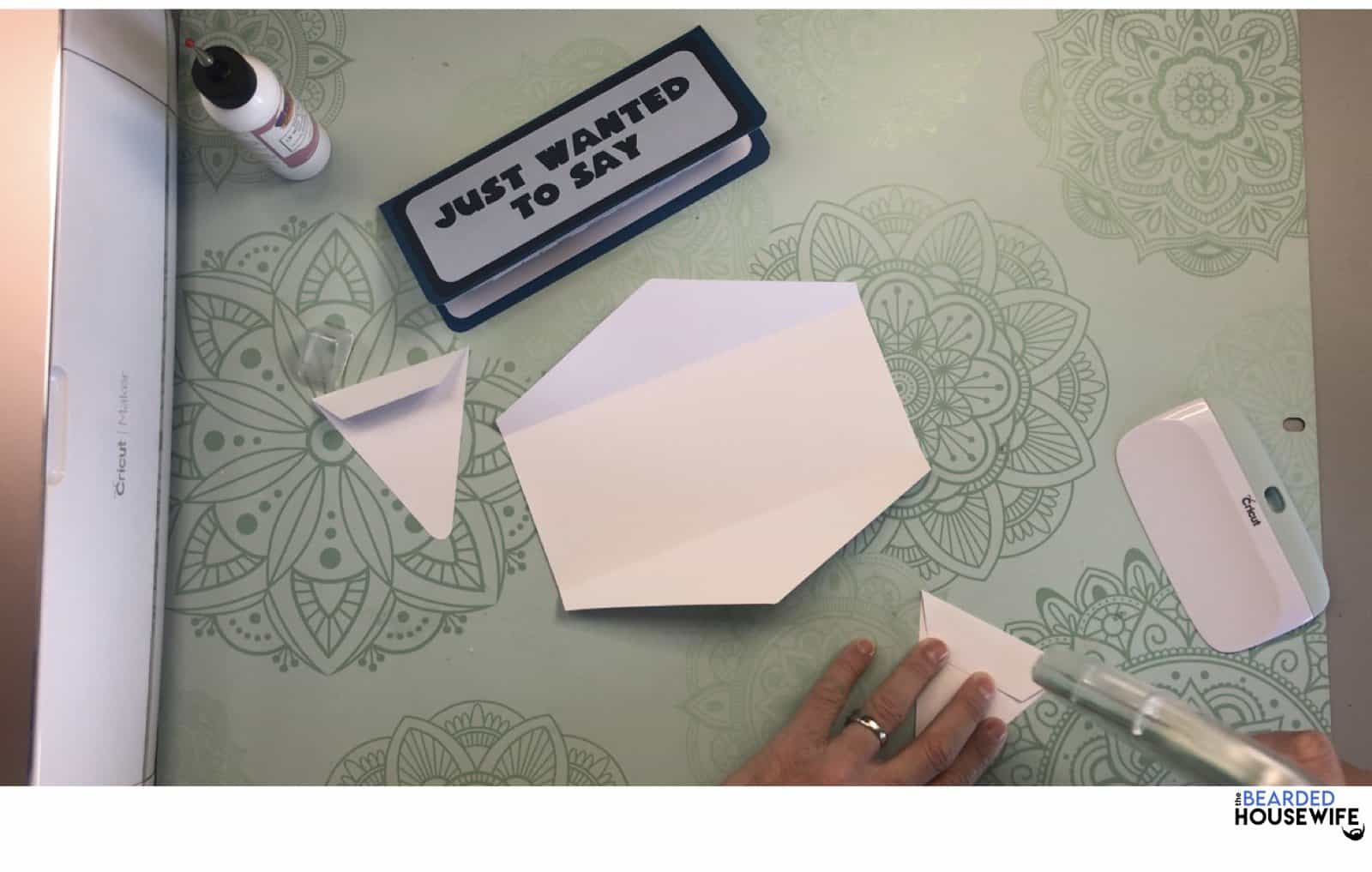 add glue or adhesive to the tabs on the side flaps