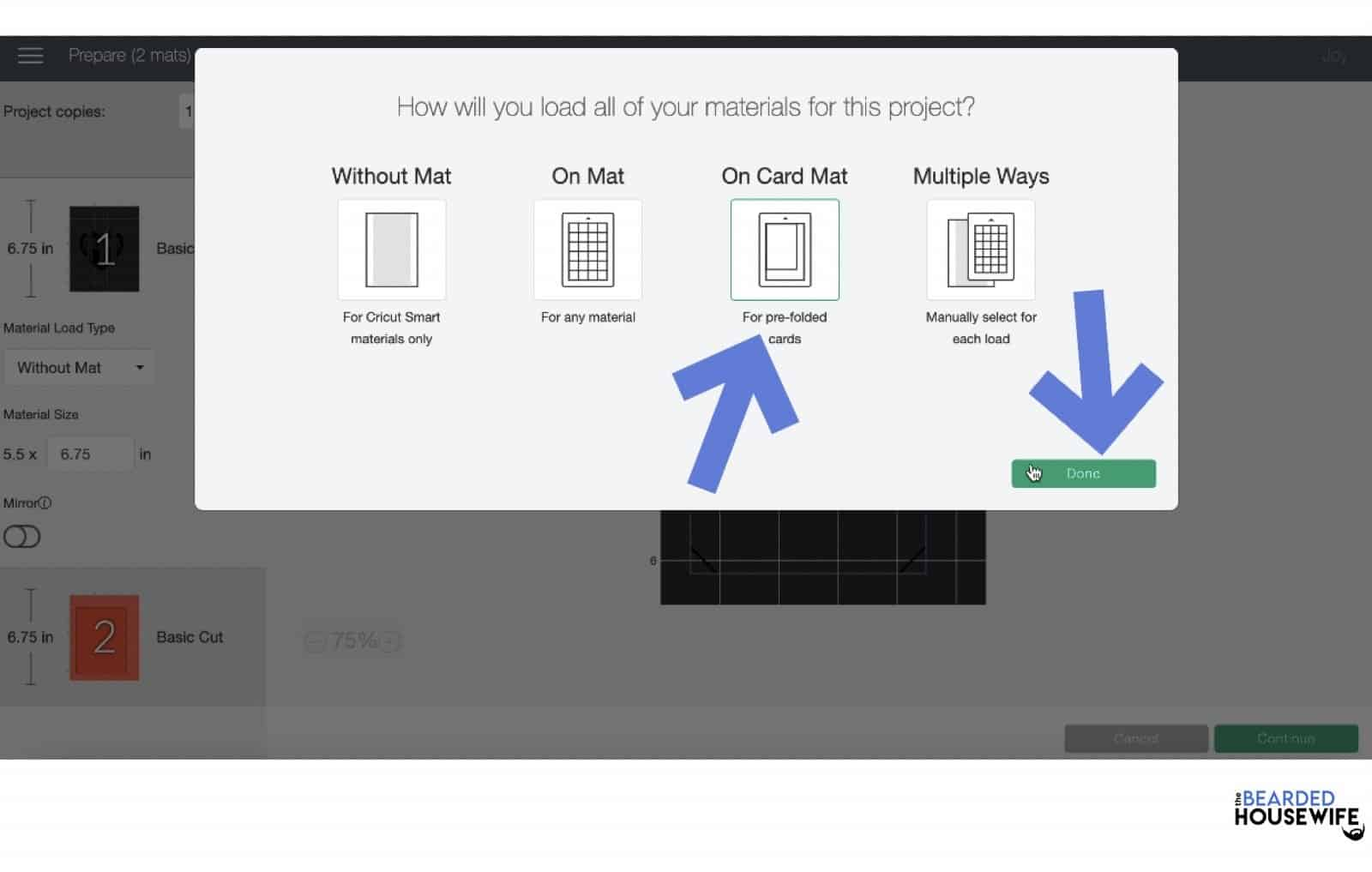 select the card mat and click continue
