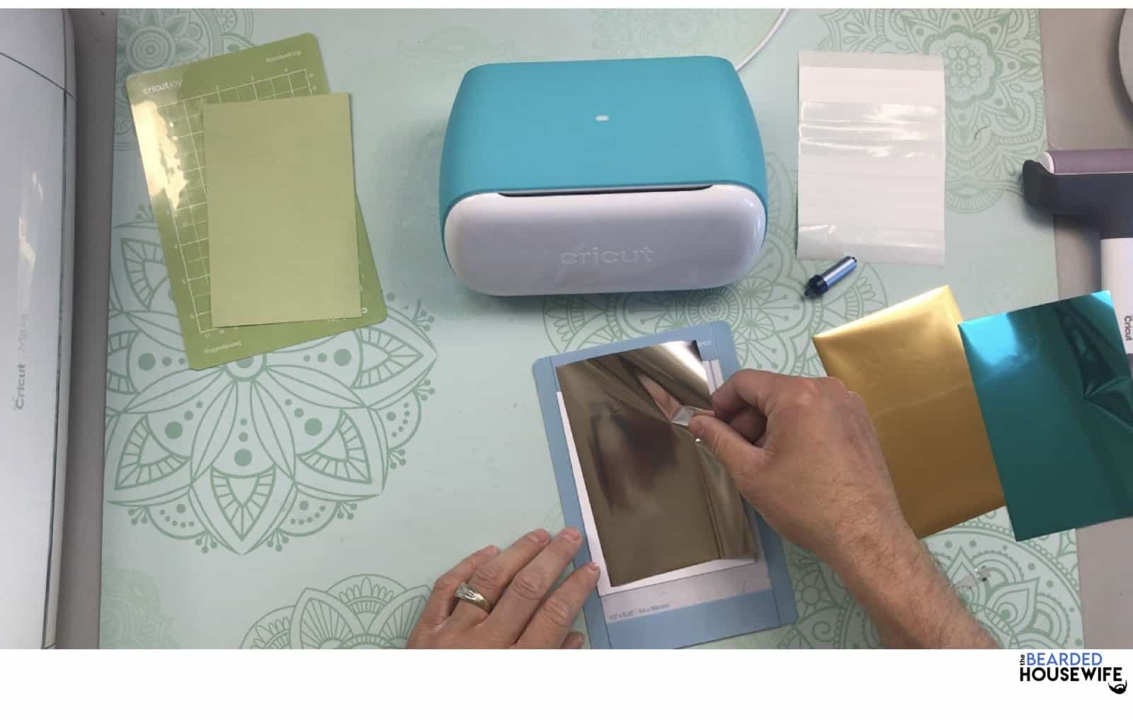 place the first foil layer on top of the card per design space