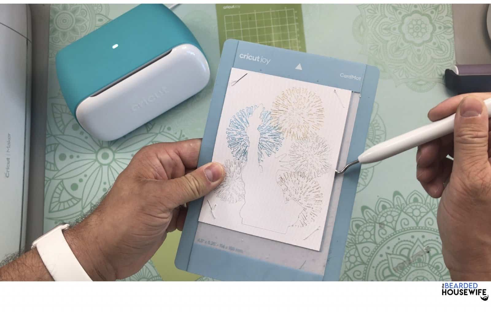 use a weeding tool to help release the card from the mat