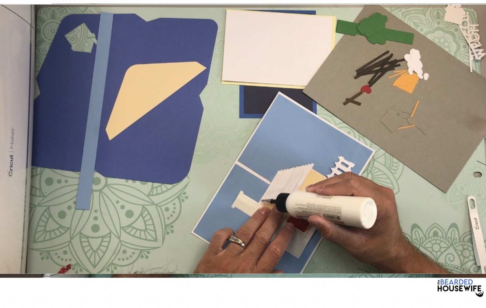 to add the shingles, apply a thin line of glue to each segment