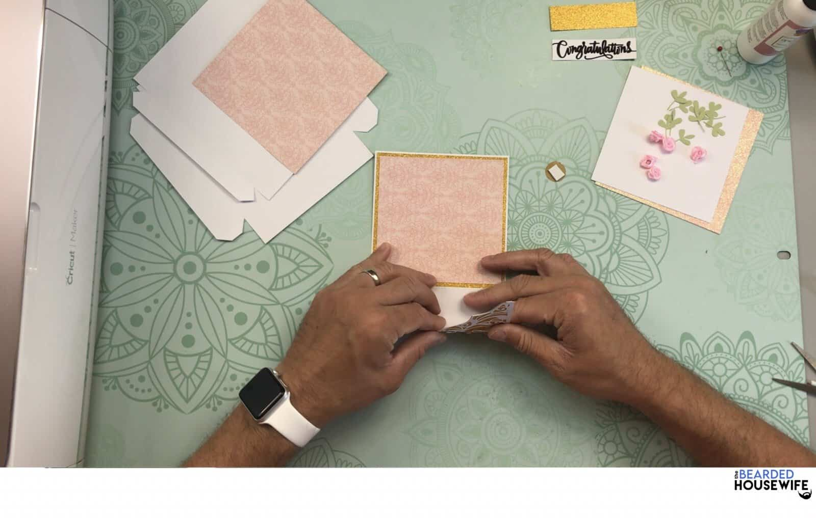 gently roll the lace portion of the card with your fingers teaching the card to curve