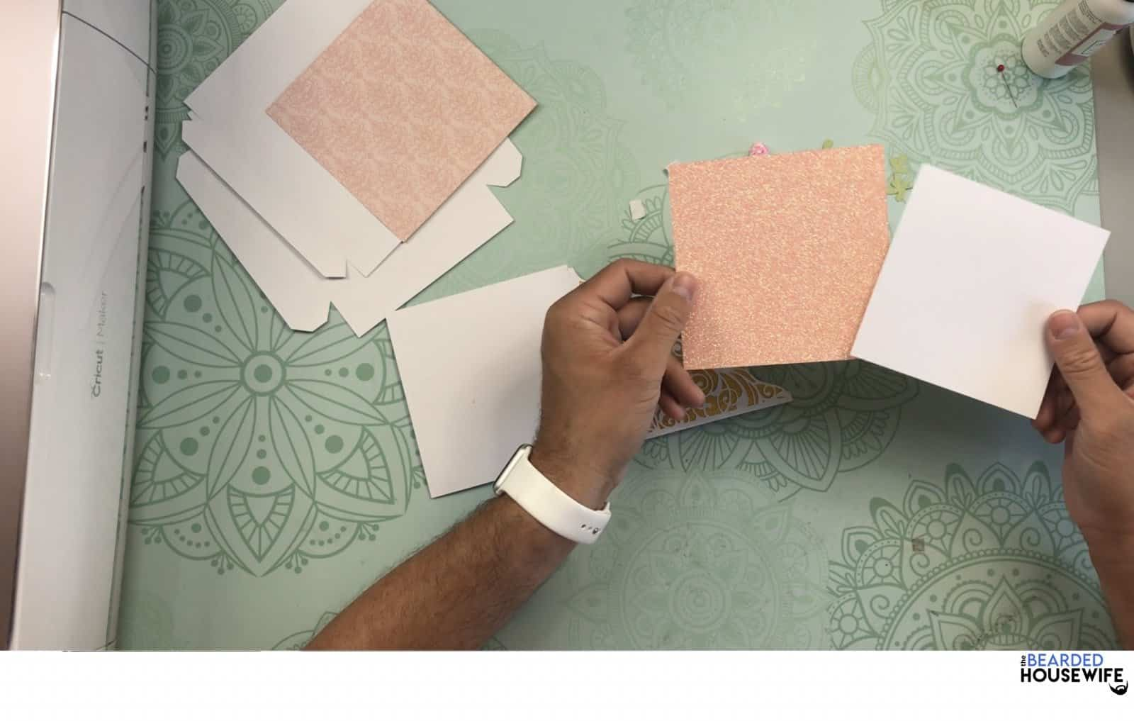 take the mat and layer for the back of the card