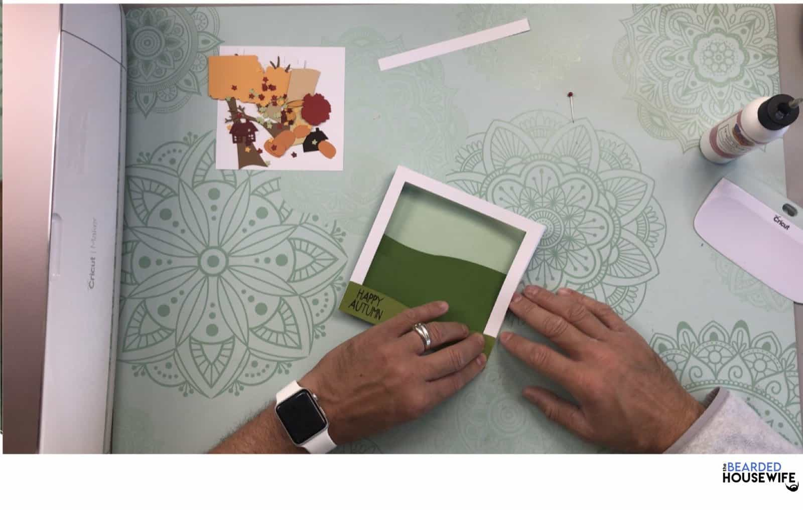 adhere to front of the card base making sure to line up your edges